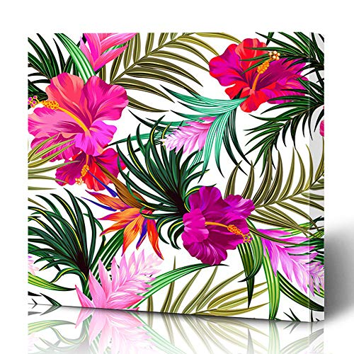 Ahawoso Canvas Prints Wall Art 16x16 Inches Exotic Hibiscus Amazing Tropical Flowers Saturated Patten Pattern Floral Beachwear Palm Leaf Decor for Living Room Office Bedroom