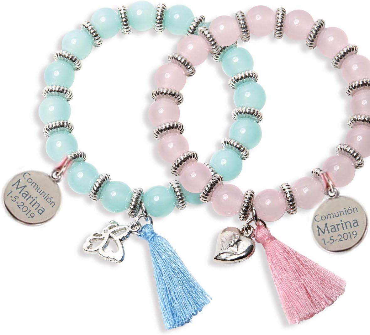 Lote 10 pulseras sweet presentadas en estuche para regalar, con CHARM PERSONALIZADO, grabado con texto que quieras. Ideales para regalos de comuniones boda y bautizos