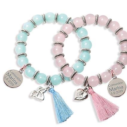 Lote 10 pulseras sweet presentadas en estuche para regalar, con CHARM PERSONALIZADO, grabado con texto que quieras. Ideales para regalos de comuniones ...