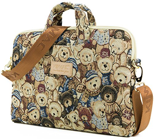 Kinmac Bear Patten Lightweight Design Laptop Shoulder Messenger Bag Case Sleeve for 14 Inch Laptop and MacBook Pro 15 Retina
