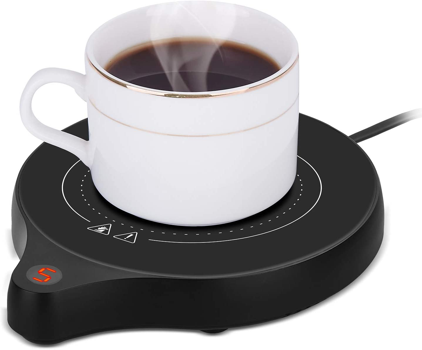 2020 New Coffee Mug Warmer and Office Warmer, Electric Beverage Warmer with 5 Temperature Settings, Coffee Warmer for Cocoa Milk Milk, Auto On/Off Gravity-induction Mug Warmer for Office Desk Use, Candle Wax Cup Warmer Heating Plate (Up To 176°F/80°C)