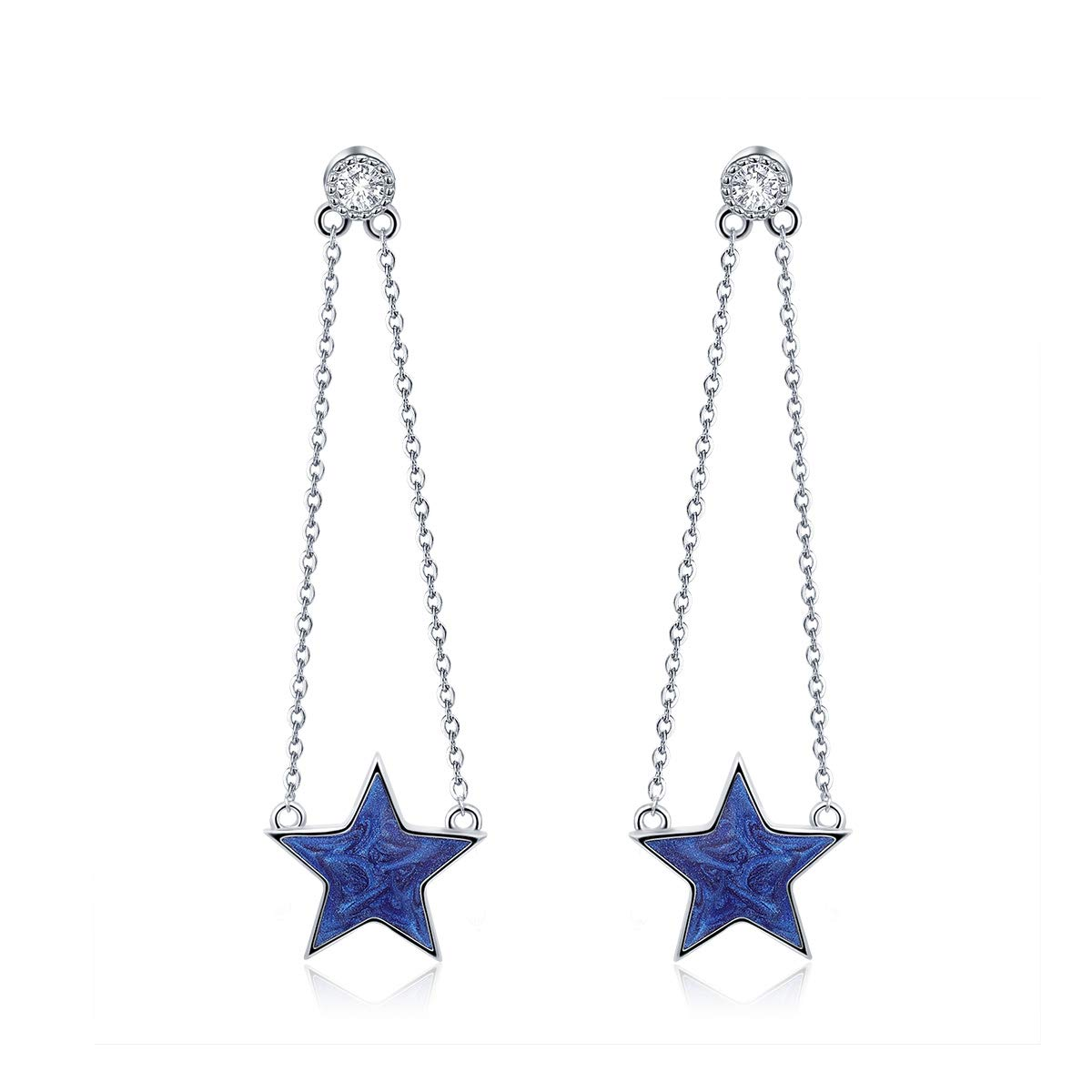 The Kiss Sparkling Star Chain 925 Sterling Silver Dangle Earrings