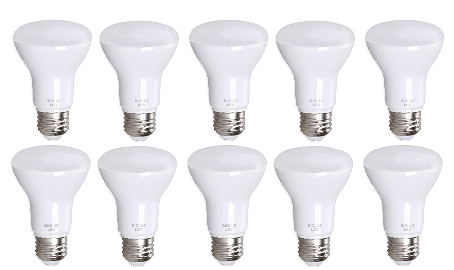 10 Pack Bioluz LED BR20 LED Bulb 2700K Warm White 90 CRI Dimmable UL-Listed CEC JA8 Title 24 Compliant 525 Lumen Indoor/Outdoor Floodlamp (Pack of 10)