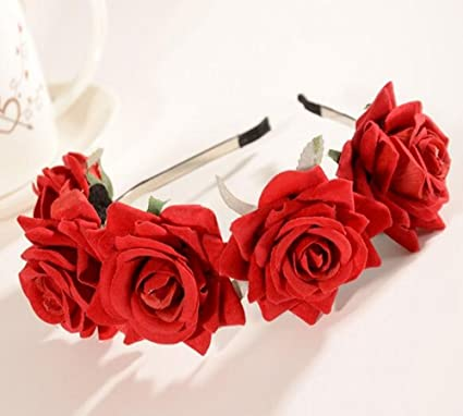 CHSYOO Red Fascia per capelli rosa Fascia per capelli per donna Fiore  fascia per capelli per 326a2cd7497f