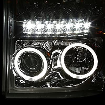 Replacement for Ford Super Duty Pair Chrome Housing Amber Corner Dual Halo Projector LED Headlight Lamp: Automotive