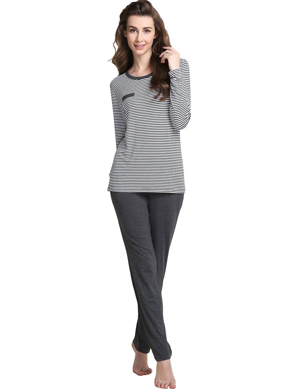 Qianxiu Lover Couple Autumn Casual Round Neck Classic Stripe Pajama Sleepwear Set at Amazon Womens Clothing store: