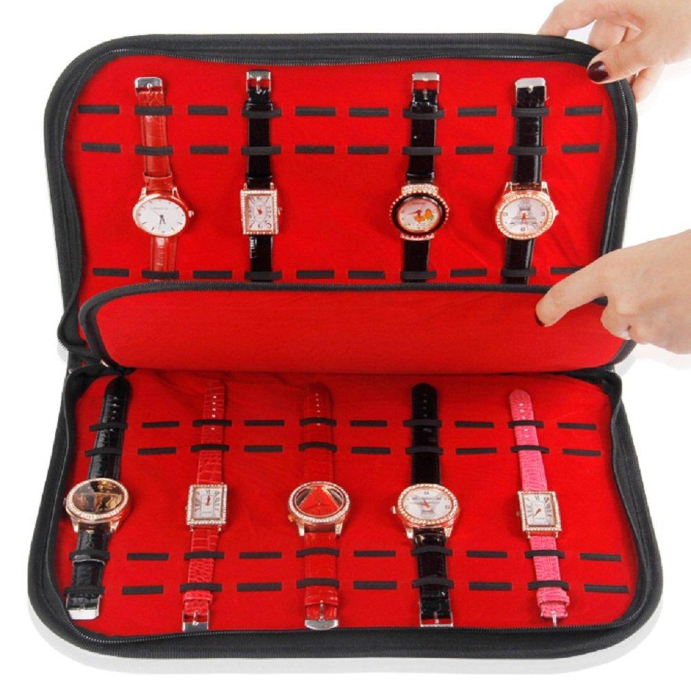 20 Slot Watch Bracelet Velvet Tray Display Folder Travel Showcase