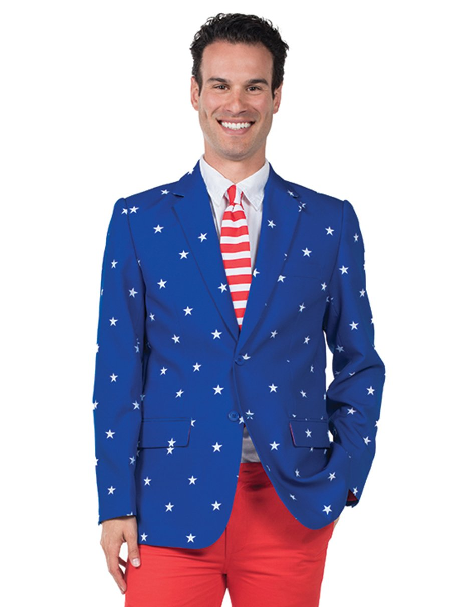Tipsy Elves Men's Patriotic American Flag Blazer - Red White & Blue USA Suit Jacket (40) by Tipsy Elves