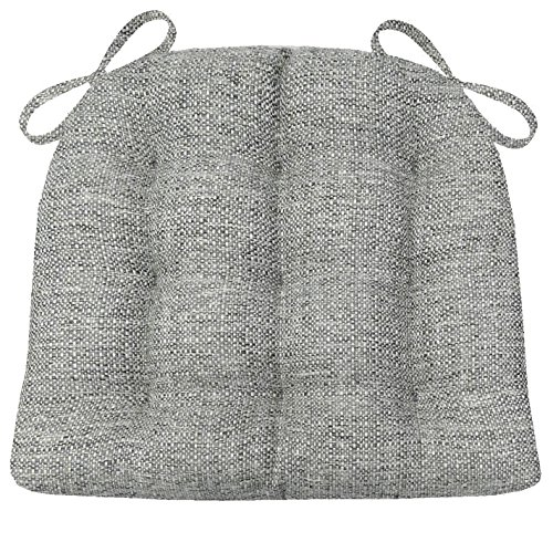 Barnett Products Brisbane Silver Grey Dining Chair Pads with Ties - Size Standard - Latex Foam Fill, Reversible - Made in USA (Gray) Upholstery Square Weave