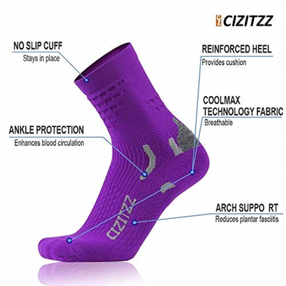 CIZITZZ All-Season compression Crew Work Sock Mens, Women Winter Hiking Athletic Socks Outdoor Sports Socks,Black,S/M