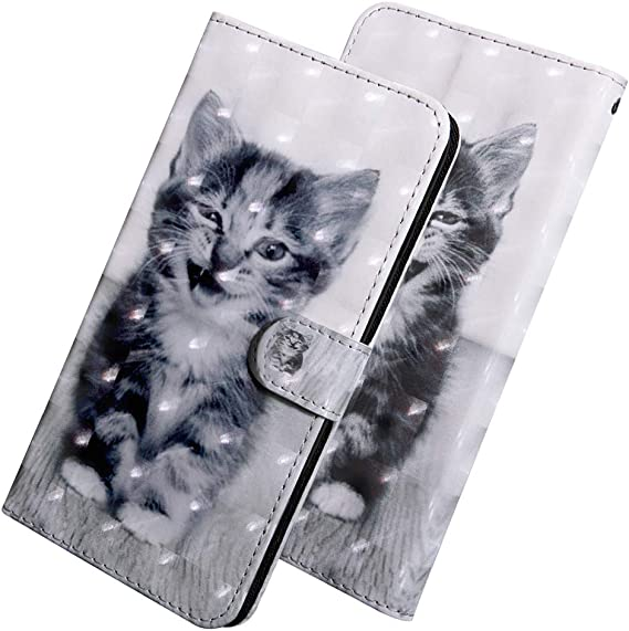 A30 Premium Print Folio Flip PU Leather Wallet Case with Kickstand Card Cash Holder Slots Wrist Strap Protective Case Cover for Samsung Galaxy A20 A30 3D Cat Tree YX LEECOCO Case for Samsung A20