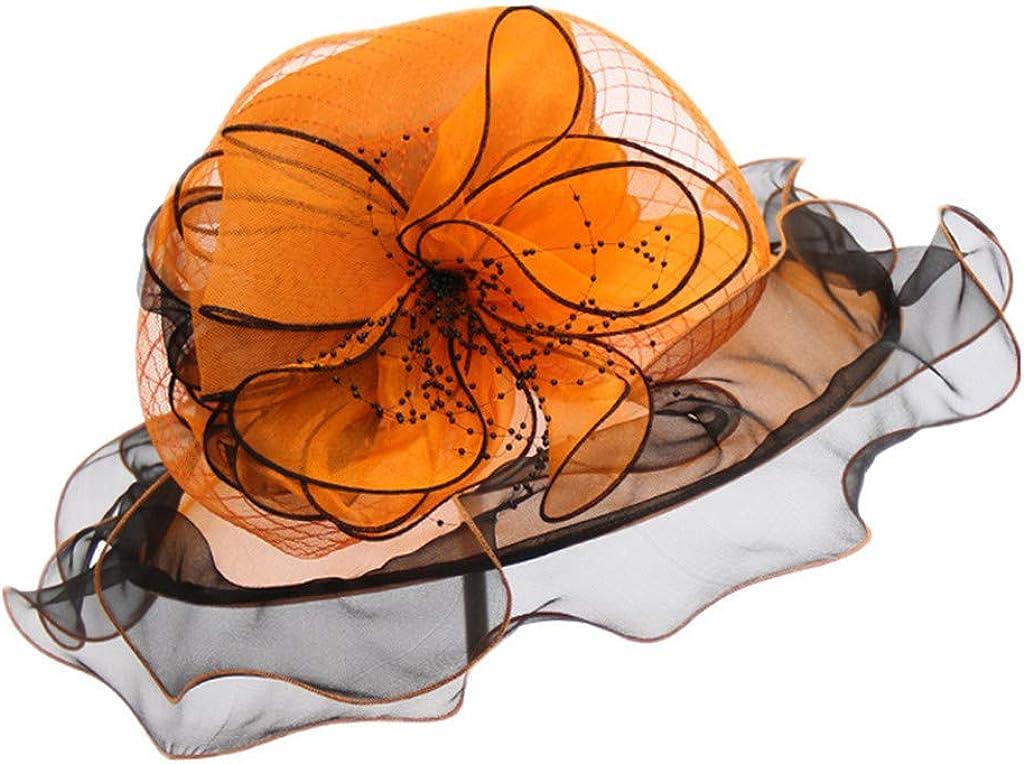 Women Lace Mesh Florals Beads Ruffles Foldable Organza Church Hat Wide Brim Summer Bridal Cap