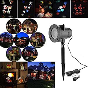 Christmas Landscape Spotlights - 12 Pattern Holiday Projector Outdoor Waterproof Landscape for Decoration Lighting on Halloween Christmas Holiday Birthday Wedding Party