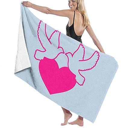 Amazon.com: Lichang Pink Peace Love Dove Microfiber Bath ...