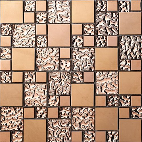 FidgetGear 11PCS Rose Gold Stainless Steel Metal Mosaic Glass Tile Bathroom Background Wall -