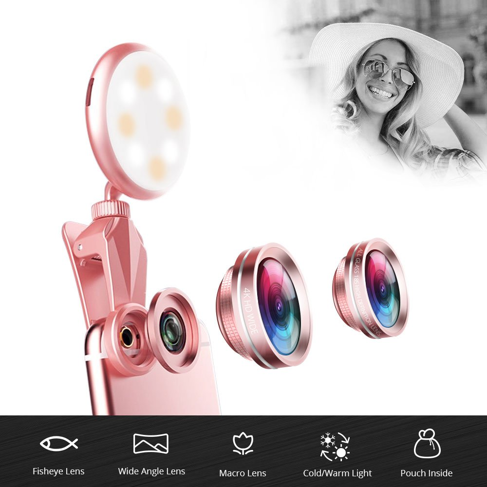 iPhone Camera Lens, Selfie Ring Light - 4K HD Wide Angle Lens + 185° Fisheye Lens + 50X Macro Lens, Rechargeable Clip On Selfie Light for Phone, iPhone, Ipad, Samsung Galaxy, Gold by Decent Monster