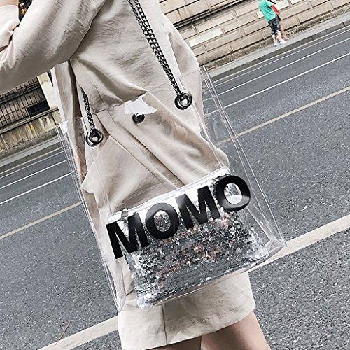 Handbag Bolso de Verano, Bolso de Mujer Nuevo, Bolso Transparente, Bolso de Mensajero de Hombro. A+ (Color : Blanco) La Plata