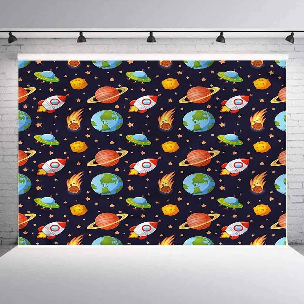 8x8FT Vinyl Wall Photography Backdrop,Boys Room,Cartoon Earth Saturn Photo Backdrop Baby Newborn Photo Studio Props