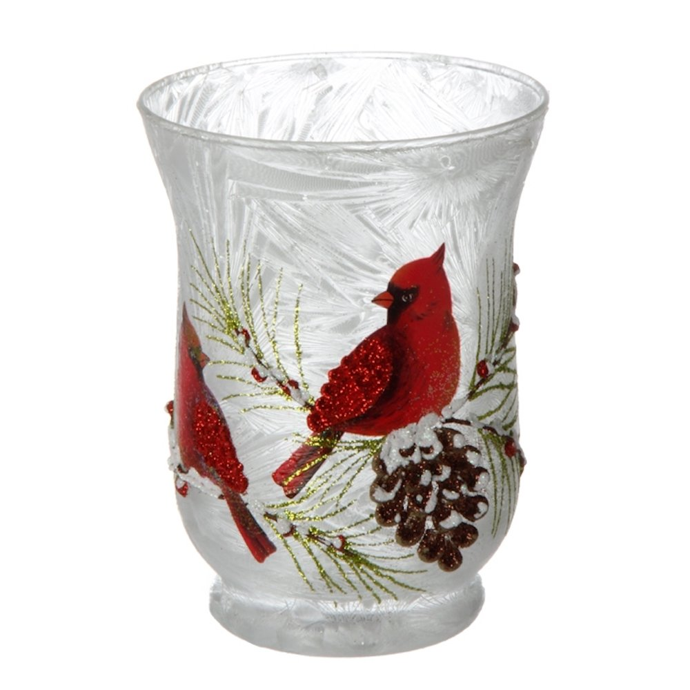 Red Cardinal with Snow and Pine Cone Tree Branch Glass Votive Candle Holder Christmas, 5 x 4 Inches