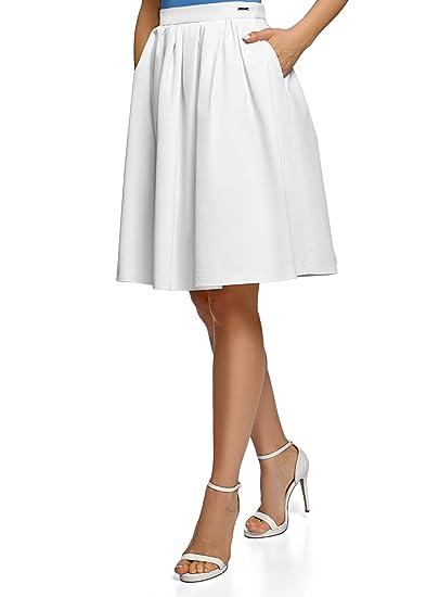 oodji Ultra Mujer Falda con Cremallera y Pliegues Suaves, Blanco ...