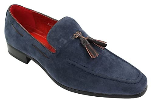 Rossellini Mens Suede Loafers Driving Shoes Slip On Tassle Design Leather Smart Casual