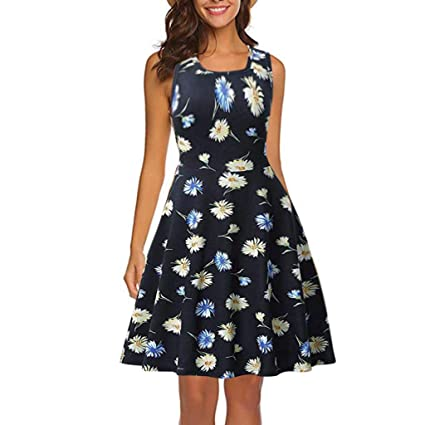 Amazon.com: YKARITIANNA Women Sleeveless Printing Summer Beach A Line Casual Dress Floral Dress