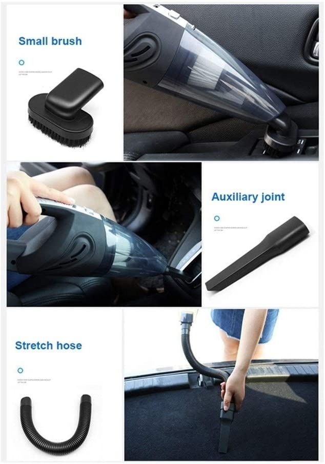 Color : Black Wireless 6000Pa Car Vacuum Cleaner 12V Cordless Powerful Cyclone Suction Wet//Dry Vacuum for Auto Home Handheld Cordless Vacuums