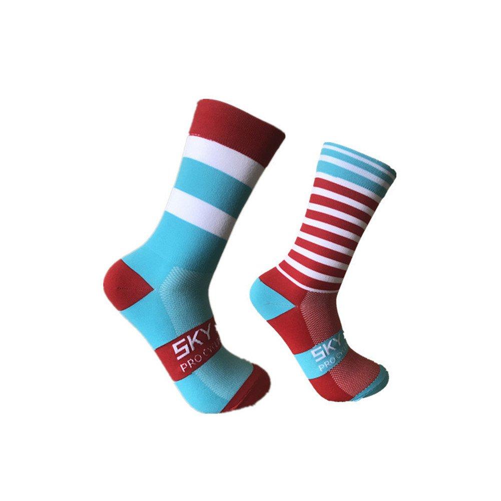 con rayas chinlon ciclismo pie izquierdo y derecho unisex para actividades al aire libre Calcetines deportivos de alta calidad