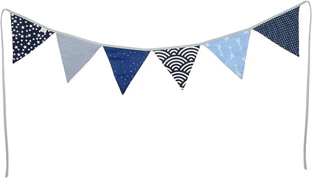 Bandierine ULLENBOOM /® blu azzurro ghirlanda di stoffa: 1,25 m, 3 bandierine, decorazione per la cameretta per bambini e feste grigio