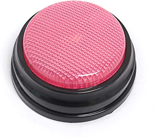 Decdeal Recordable Talking Button with Led Function, Sound Button Learning Resources Answer Buzzers, Record Any 30 Seconds Message, Pink