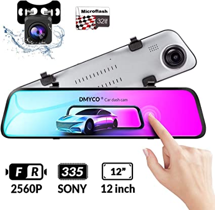Mirror Dash Cam weJupit 11.66 Inch Car Backup Camera Dual Front and Rear Waterproof Touch Screen Stream Media Rearview Camera Night Vision LDWS Parking Monitor 1296P+1080P, 840Pro