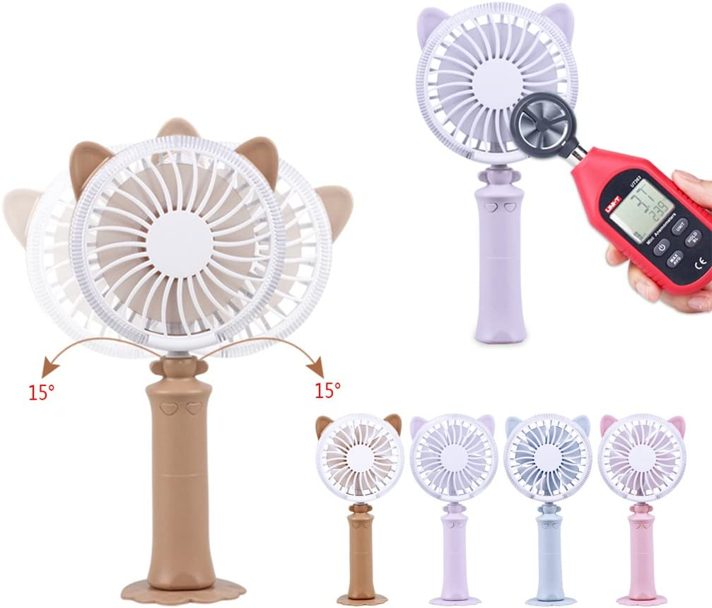 Cat-Ear USB Rechargeable Handheld Fan with LED Light 2 Speeds for Indoor Outdoor by Aiyouxi