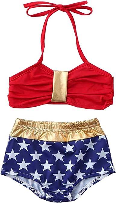 MNLYBABY Toddler Baby Girls 2PCS Bikini American Flag Swimsuit 4th of July Swimwear Set Beachwear
