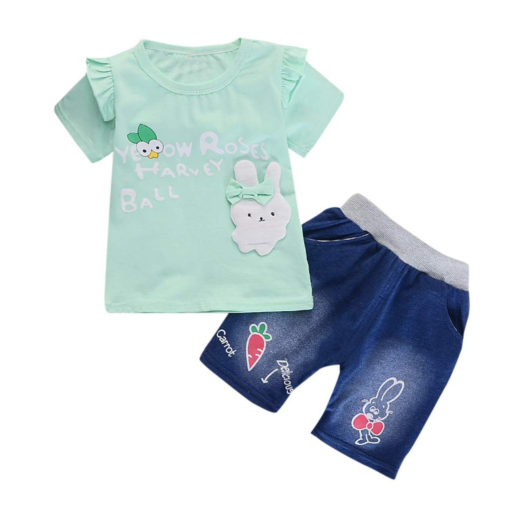Princess Dresses for Toddler Girls,Toddler Baby Girls Short Sleeve Cartoon Rabbit Print Tops+Denim Shorts Outfits,Girls Swimwear,Green,L//100