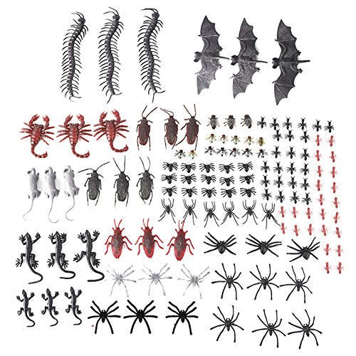MediaLJia 150 Pieces Plastic Realistic Bugs - Assorted Insects,Fake Spiders, Ants, Centipedes, Flies, Bats, Mice Scorpions for Halloween Party Decoration