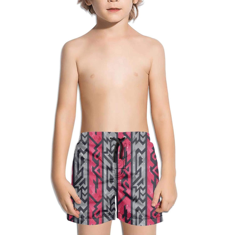 BingGuiC Boys Quick Dry Shorts Geometric Memphis Style Red and Gray Fashion Swim Trunks