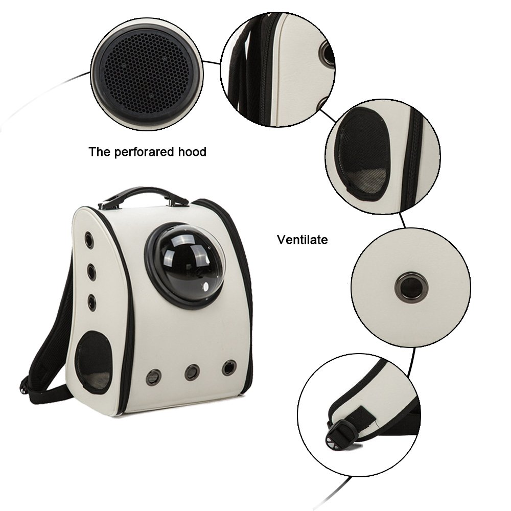 MESASA Pet Carrier Backpack Space Capsule PU Leather Dog Cat Small Animals Travel Bag White