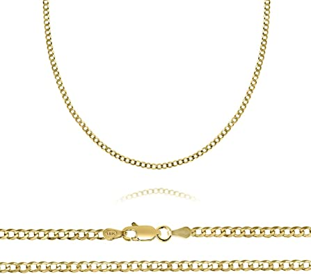 14K Solid White Gold 1.8mm Cable Link Pendant Necklace Chain High Polish All Sizes 16/'/' 30/'/' Inches High Quality Gold Gift