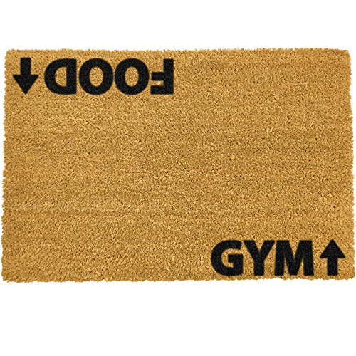 CKB Ltd Food Gym Novelty Doormat Unique Doormats Front/Back Door Mats Made with A Non-Slip PVC Backing - Natural Coir - Indoor & Outdoor (Best Food For Gym)