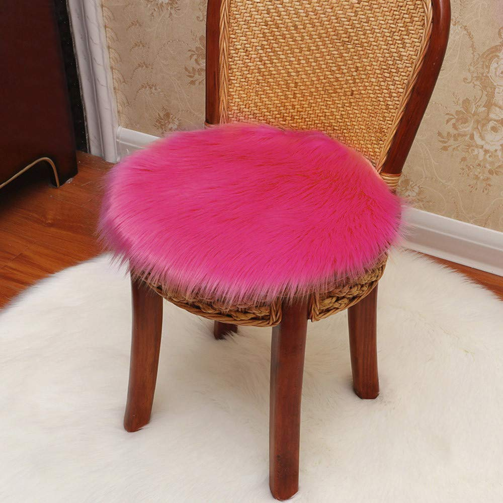 Clearance  Tuscom Soft Artificial Sheepskin Rug Chair Cover, Artificial Wool Warm Hairy Carpet Seat Pad(5 Colors) (Hot Pink)