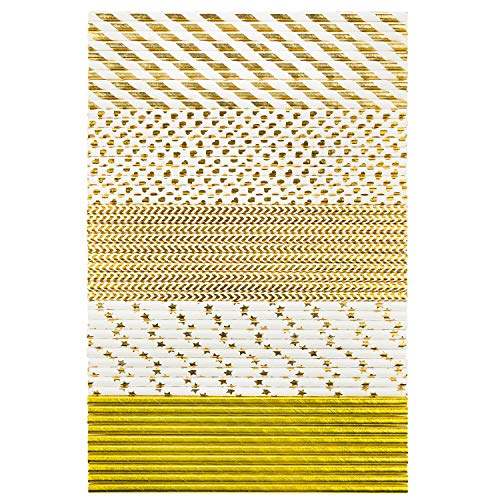 150 Bundle Biodegradable Eco-Friendly Paper Drinking Straws, 5 Different Patterns, Gold/White Designs made for Juices, Smoothies, Arts & Crafts, Shakes, Birthday, Baby Shower, Bridal Showers & More!