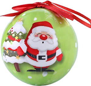 eBigValue Christmas Santa Clause Theme 3 inch Ornaments Ball, Shatterproof Beautiful Hanging Pendants for Xmas Tree, Home, Garden, Party, Indoor and Outdoor Decorations