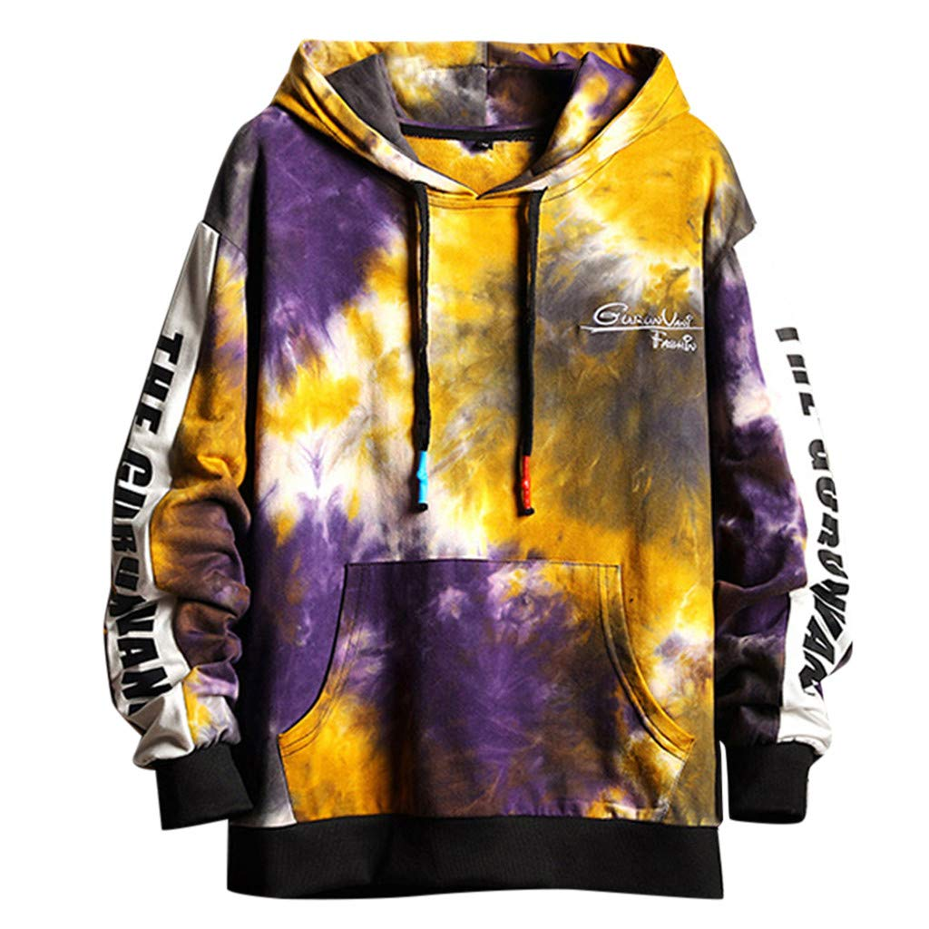 Goutique Unisex 3D Printed Drawstring Hoodies Pullover Sweatshirts Colorful TTie-Dye Hoodies with Big Pockets by Goutique