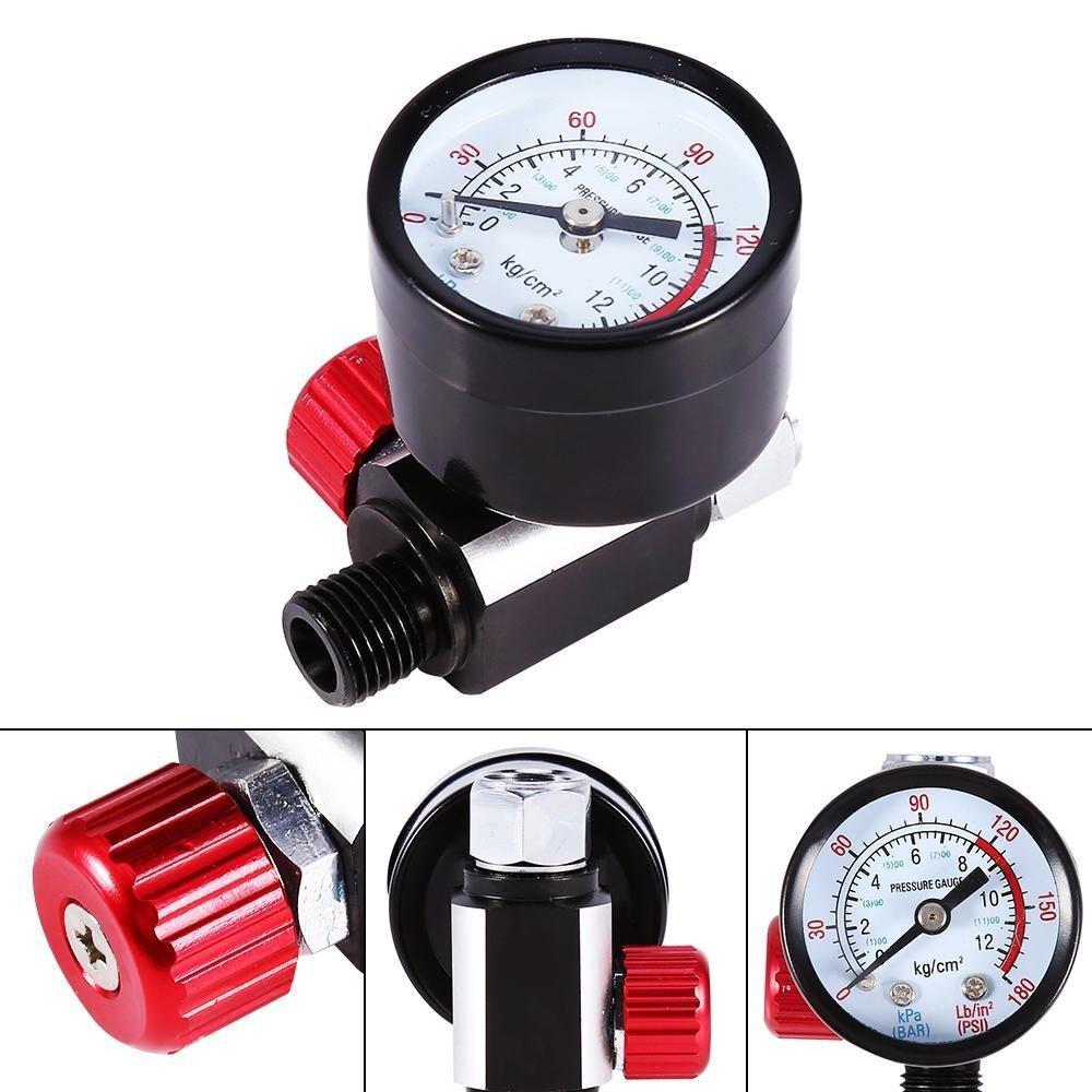 GOTOTOP Regolatore di pressione con manometro per pistole a spruzzo, regolatore pressione dell' aria pistola a spruzzo regolatore pressione dell' aria pistola a spruzzo