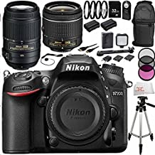 Nikon D7200 DSLR w/ Nikon 18-55mm + Nikon 55-300mm VR Lens + 32GB Bundle 22PC Accessory Kit - International Version with No Warranty