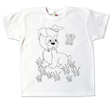 Kinder T Shirt Hund Weiß Zum Ausmalen Und Bemalen Mit Vordruck Kindergeburtstag Kindergarten Oder Als Mitgebsel Für Jungen Und Mädchen