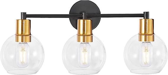 Modern Globe Vanity Light, Industrial 3-Light Indoor Wall Light Bathroom Vanity Lighting with Globe Clear Glass Lights Shade, for Hallway,Kitchen,Bedroom(Black+Gold)
