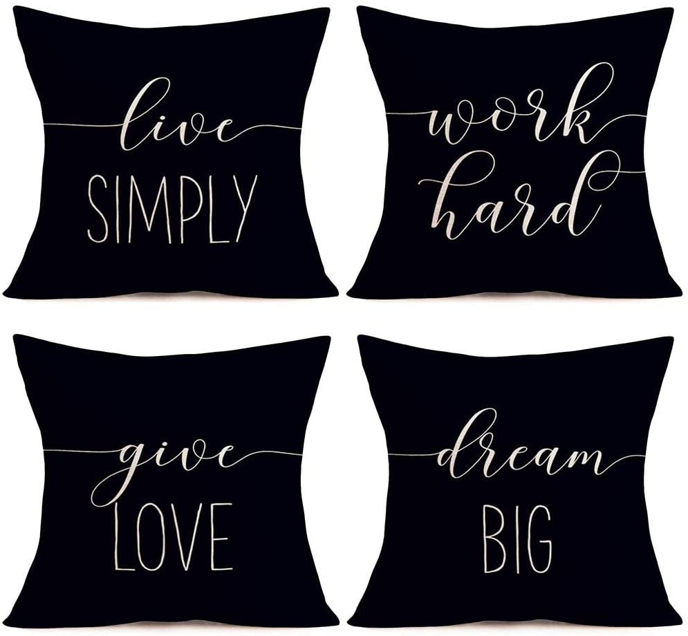 Doitely Set of 4 Inspirational Quotes Cotton Linen Throw Pillow Covers Home Decor Best Office Gift Cushion Case Live Simply, Work Hard, Give Love, Dream Big Simple Words Pillowslip Standard 18x18 Inch