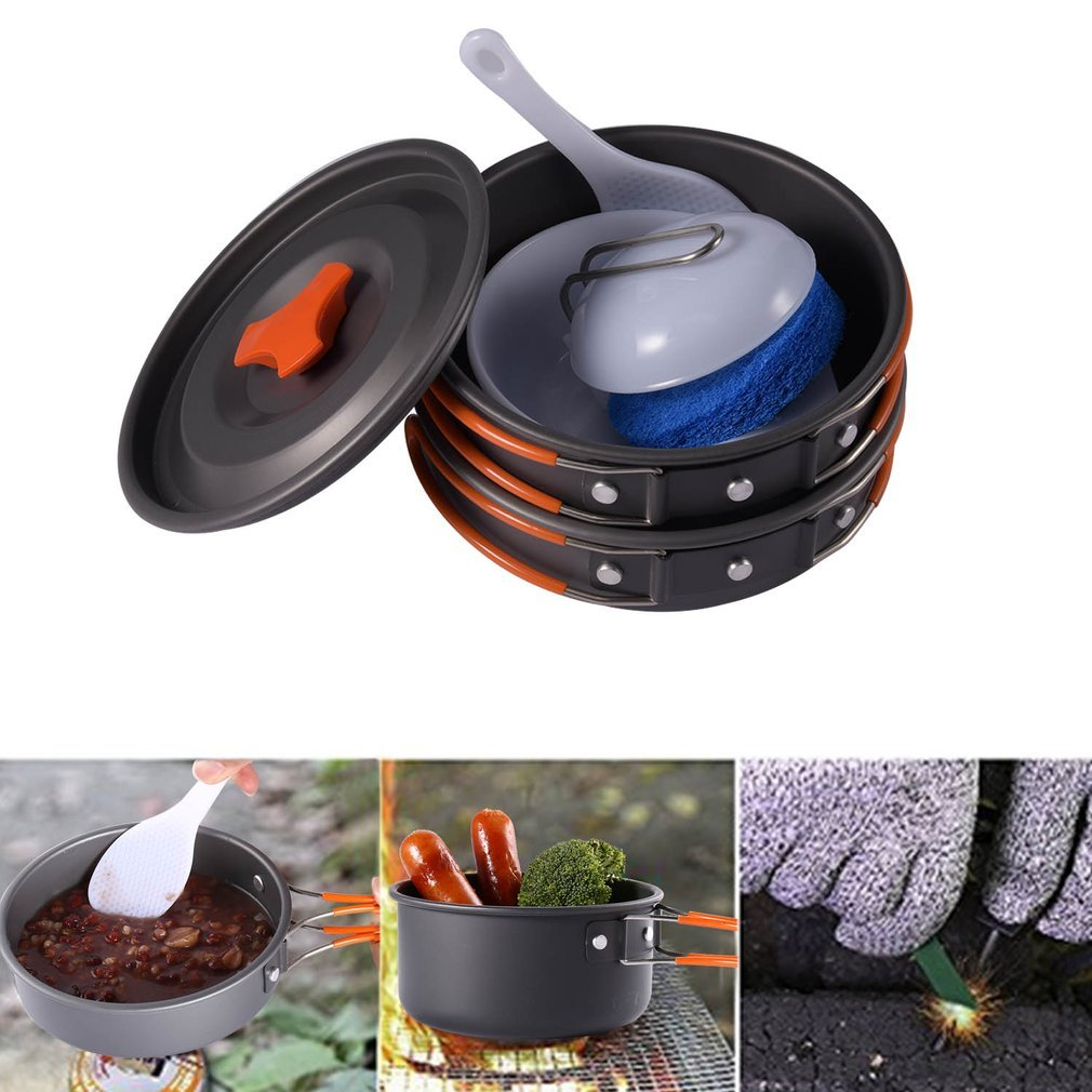 /Juego de utensilios de cocina para camping al aire libre senderismo OUTAD/8 unidades olla de cocci/ón antiadherente y cacerola en conjunto picnic