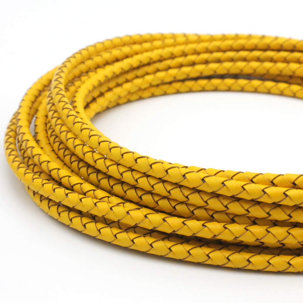 5 Yards 4mm Braided Leather Cord Round Leather Strap for Bracelet Making Bolo Tie Yellow